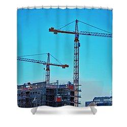 construction cranes HDR Shower Curtain by Antony McAulay