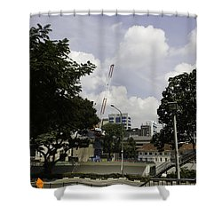 Construction Work Ongoing In Singapore Shower Curtain by Ashish Agarwal