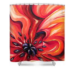 Shower Curtain featuring the painting Consuming Fire by Meaghan Troup