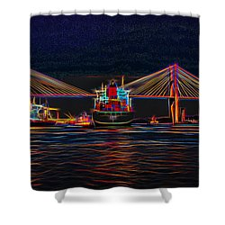 Container Ship Arriving At Savannah Shower Curtain