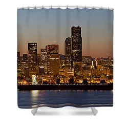 Shower Curtain featuring the photograph Container Ship On Puget Sound Along Seattle Skyline by JPLDesigns