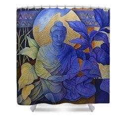 Contemplation - Buddha Meditates Shower Curtain by Susanne Clark