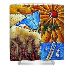 Contemporary Coastal Nautical Tropical Martin Art Original Sailboat Painting Ocean View By Madart Shower Curtain by Megan Duncanson