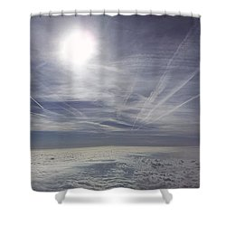 Contrail Panorama Shower Curtain by Greg Reed