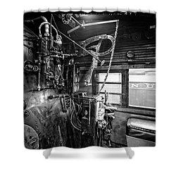 Controls Of Steam Locomotive No. 611 C. 1950 Shower Curtain by Daniel Hagerman