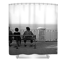 Conversations By The Sea Shower Curtain