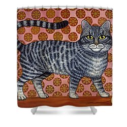 Cookie Cat Shower Curtain by Linda Mears