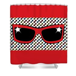 Shower Curtain featuring the digital art Cool 90's Sunglasses Red by MM Anderson