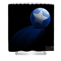 Shower Curtain featuring the digital art Blue Ball Decorated With Star Grass Black Background by R Muirhead Art