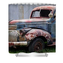 Shower Curtain featuring the photograph Cool Blue Chevy by Steven Bateson