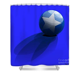 Shower Curtain featuring the digital art Blue Ball Decorated With Star Grass Blue Background by R Muirhead Art