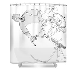 Cool Bmx Drawing Shower Curtain by Mike Jory