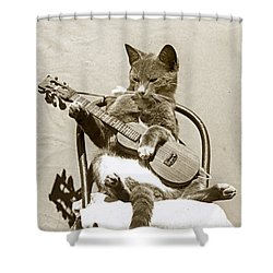 Cool Cat Playing A Guitar Circa 1900 Historical Photo By Photo  Henry King Nourse Shower Curtain by California Views Mr Pat Hathaway Archives