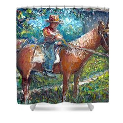 Shower Curtain featuring the painting Cool Grandpa by Bernadette Krupa
