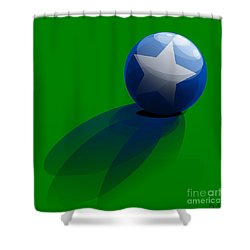 Shower Curtain featuring the digital art Blue Ball Decorated With Star Grass Green Background by R Muirhead Art