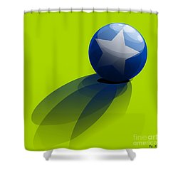 Shower Curtain featuring the digital art Blue Ball Decorated With Star Green Background by R Muirhead Art
