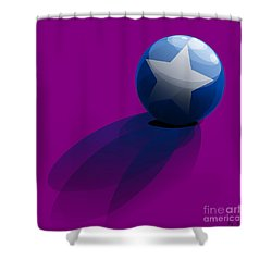 Shower Curtain featuring the digital art Blue Ball Decorated With Star Purple Background by R Muirhead Art