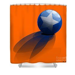 Shower Curtain featuring the digital art Blue Ball Decorated With Star Orange Background by R Muirhead Art