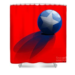 Shower Curtain featuring the digital art Blue Ball Decorated With Star Red Background by R Muirhead Art