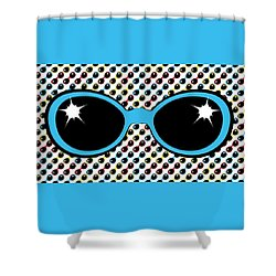 Shower Curtain featuring the digital art Cool Retro Blue Sunglasses by MM Anderson
