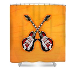 Cool Vintage Guitar Shower Curtain by Doron Mafdoos