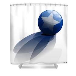 Shower Curtain featuring the digital art Blue Ball Decorated With Star Grass White Background by R Muirhead Art