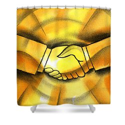 Cooperation Shower Curtain by Leon Zernitsky