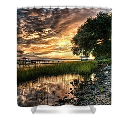 Coosaw Plantation Sunset Shower Curtain