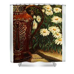 Copper And Daisies Shower Curtain