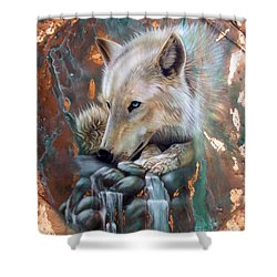 Copper Arctic Wolf Shower Curtain