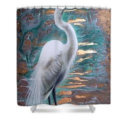 Copper Egret Shower Curtain