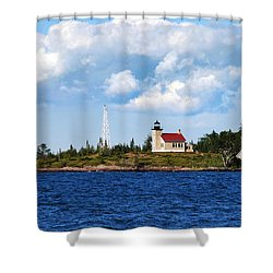 Copper Harbor Lighthouse Shower Curtain by Christina Rollo