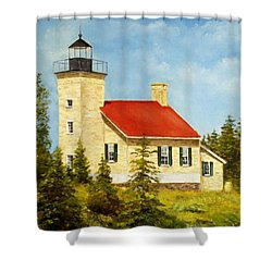 Copper Harbor Lighthouse Shower Curtain by Lee Piper