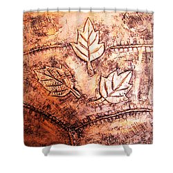 Copper Leaves Embossed Shower Curtain by Abhishek Das
