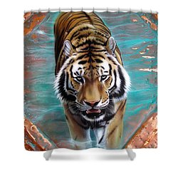 Copper Tiger 3 Shower Curtain