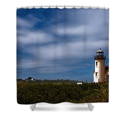Coquille River Lighthouse Shower Curtain by Joan Carroll