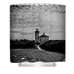 Coquille River Lighthouse Shower Curtain by Melanie Lankford Photography
