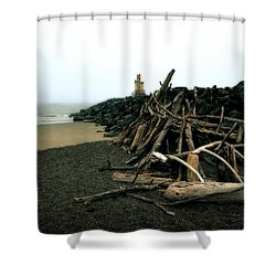 Coquille River South Jetty Shower Curtain