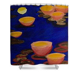 Shower Curtain featuring the painting Coral Lily Pond by Anita Lewis