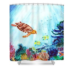 Shower Curtain featuring the painting Coral Reef by Donna Walsh