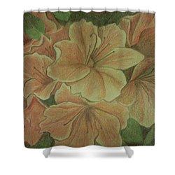 Coral Sunburst Azaleas Shower Curtain by Christy Saunders Church