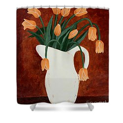 Coral Tulips In A Milk Pitcher Shower Curtain by Barbara Griffin