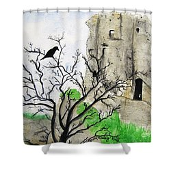 Corfe Castle And Crow Shower Curtain