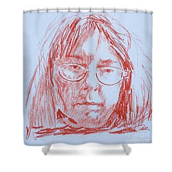 Shower Curtain featuring the drawing Corliss' Portrait by PainterArtist FINs husband Maestro