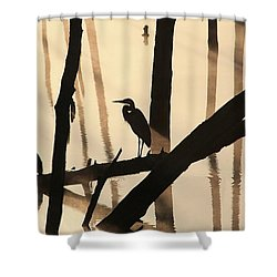 Cormorant And The Heron Shower Curtain