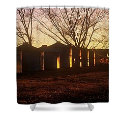 Shower Curtain featuring the photograph Corn Cribs At Sunset by Rodney Lee Williams