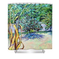 Shower Curtain featuring the painting Corn Stalk And Apple Tree  Autumn Lovers by Asha Carolyn Young