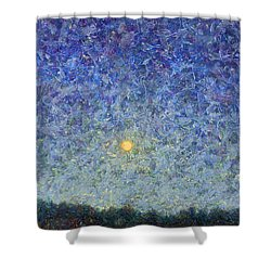 Shower Curtain featuring the painting Cornbread Moon by James W Johnson