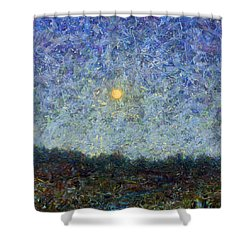 Shower Curtain featuring the painting Cornbread Moon - Square by James W Johnson