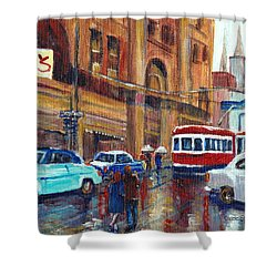 Corner St.catherine And Union Streets-fifties Montreal-vintage Street Scene Shower Curtain by Carole Spandau